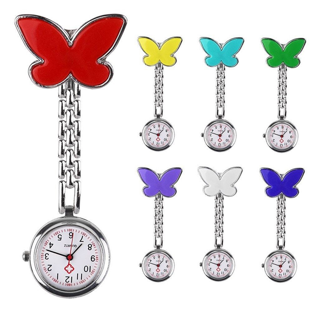 7pcs Smiling Faces Heart Clip-On Pendant Nurse Watches Doctor portable Fob Brooches Pocket Watch