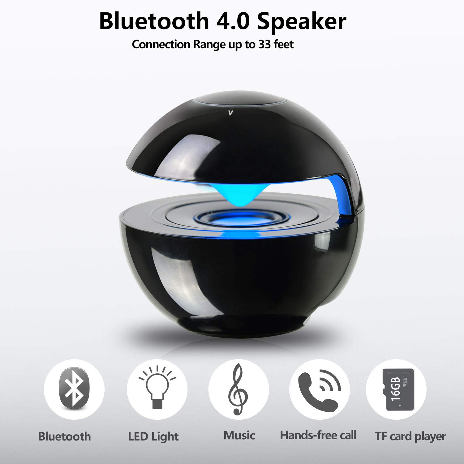 Adjustable Changeable Led Light,TF Card Slot Compatible for Smart Phone,iPad PC Tablet Grey Portable Bluetooth Speaker,Small Wireless Speaker with Superb HD Sound and Enhanced Bass