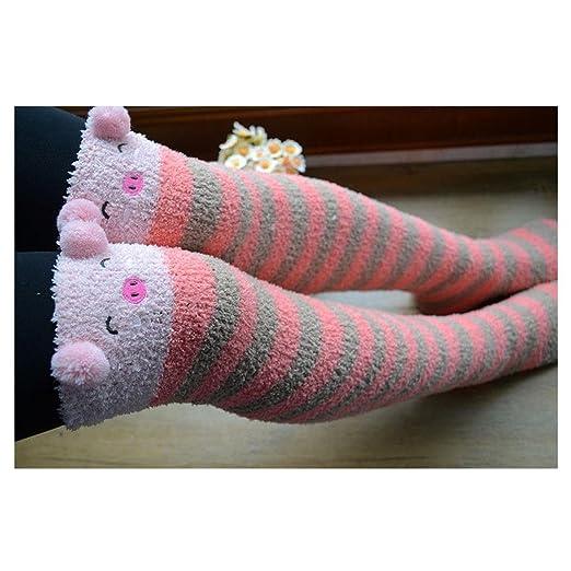 1142edcf3 Cute Bear Sheep Panda Pig 3D Ears Stripe Over-knee Stocking Sock Thigh-high
