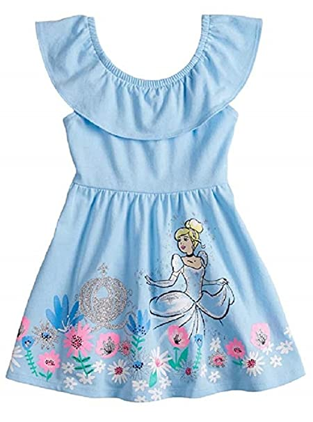 56fdb6a37ef Disney Cinderella Skater Dress with Glittery Graphic for Toddler Girls (4T)