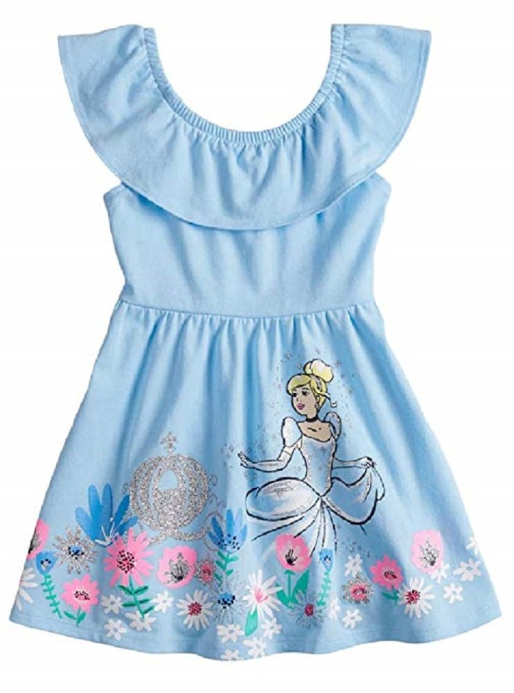 Disney Cinderella Skater Dress with Glittery Graphic for Toddler Girls (4T)
