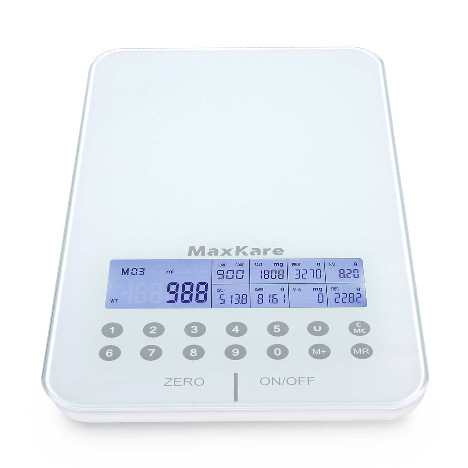 Digital Nutrition Scale Kitchen Scale with Tempered Glass and Touch Panel, LCD Backlight Display, Overload Indication, Calculates The Nutrition Value of Food MaxKare