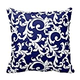 Elegant Navy Blue and White Floral Pattern Throw Pillow Case Cushion Cover Decorative 16 X 16 Squares Pillow Covers Two Sides