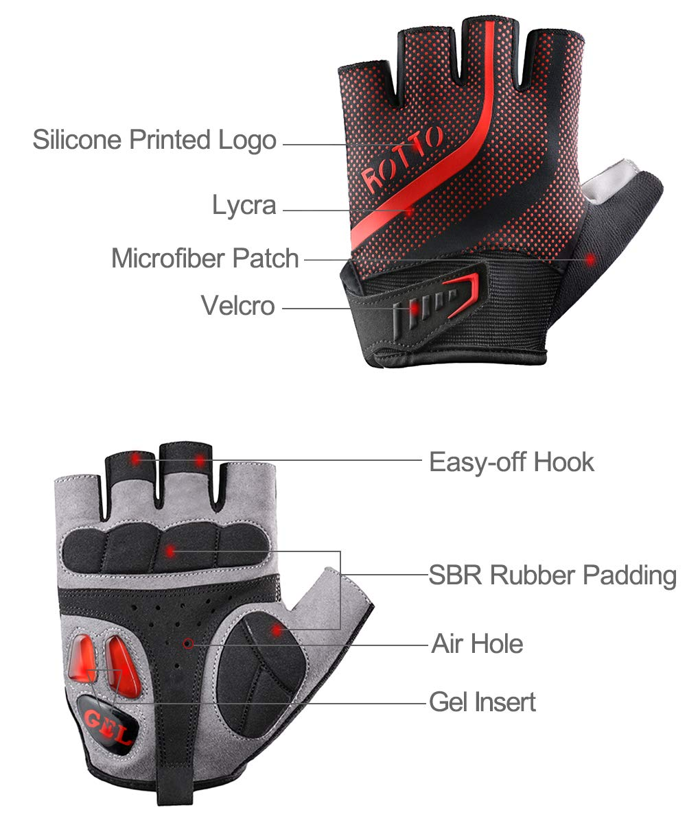 ROTTO Cycling Gloves Half Full Finger Mountain Bike Gloves for Men Women with Gel and SBR Padding