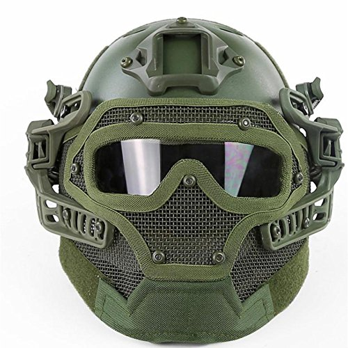 iMeshbean Multifunctional Airsoft Tactical Helmet Fast Helmet Full Mask Version