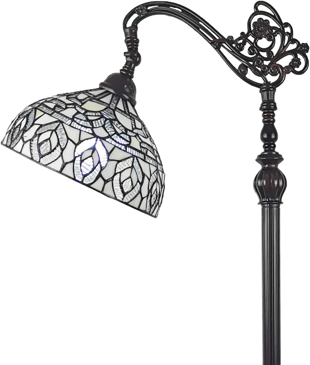 Amora Lighting Tiffany Style Floor Lamp Arched Vintage Antique 62″ Tall Stained Glass White Mahogany Traditional Peacock Light Decor Bedroom Living Room Reading Gift AM277FL12B