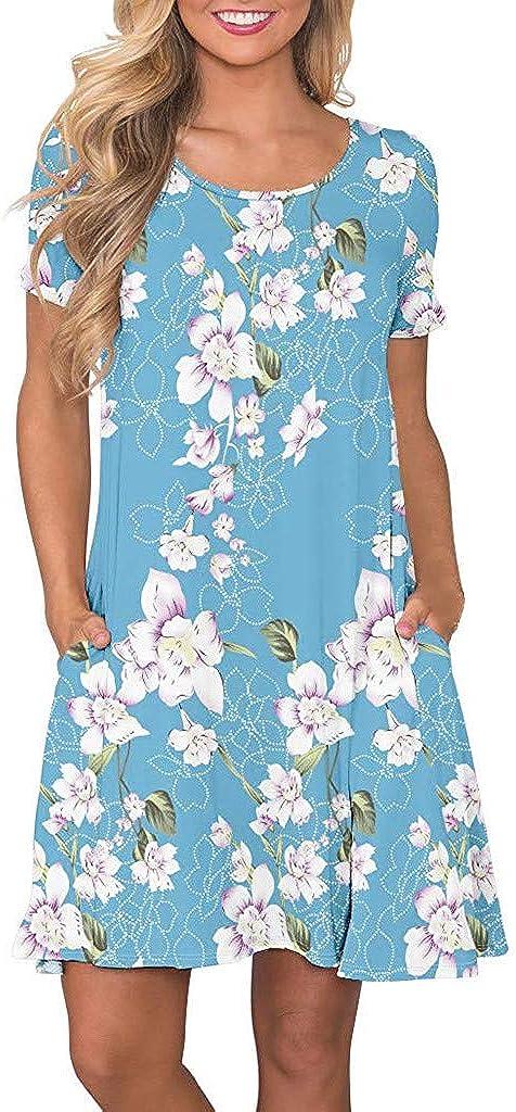 LIM/&Shop Womens Summer Casual T Shirt Dresses Short Sleeve Swing Dress with Pockets