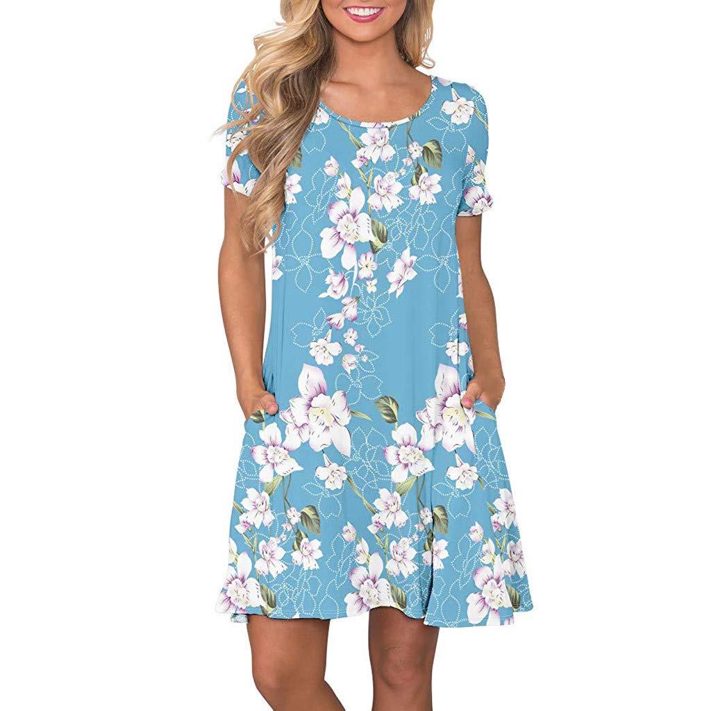 KYLEON Women Dresses Summer Floral Printed Pockets Dress Swing Beach Vintage Short Mini Dress Tank Casual Sundress Sky Blue
