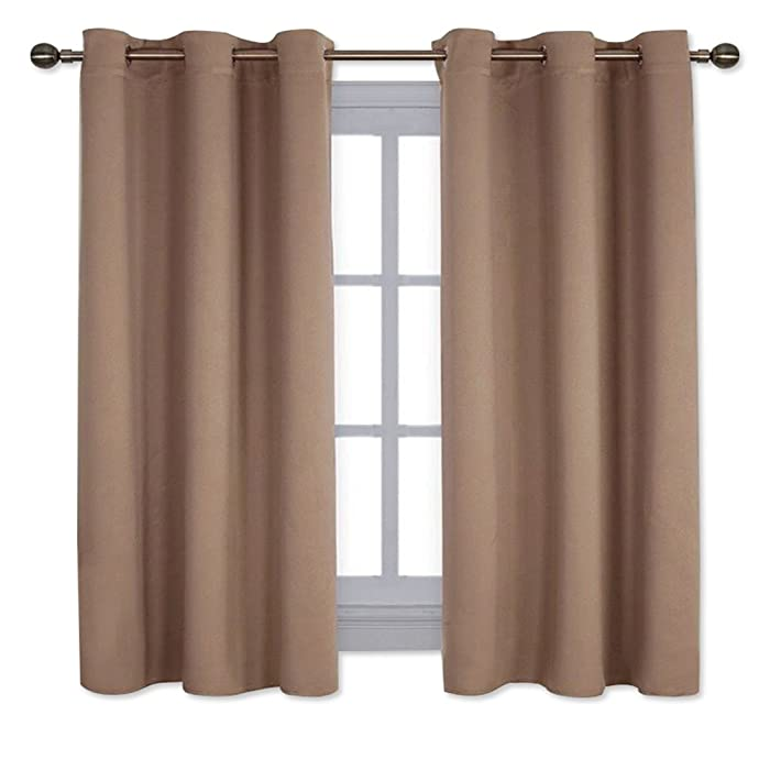 NICETOWN Window Treatment Thermal Insulated Solid Grommet Blackout Curtains/Drapes for Bedroom (Set of 2 Panels,42 by 63 Inch,Cappuccino)