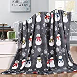 "Ultra Soft Holiday Fleece Blanket (50"" x 60"") - Grey Snowman"