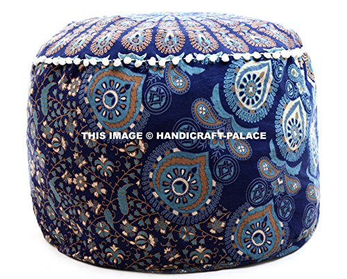 HANDICRAFT-PALACE Peacock Mandala Bohemian Cotton Ottoman Pouffs Footstool Handmade Screen Printed Floor Pillow Cover Cushion Cover Large Seat Sold
