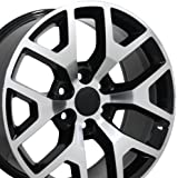 22x9 Wheels Fit GM Truck & SUV - Sierra 1500 Style Black Rims w/Mach'd Face, Hollander 5656 - SET