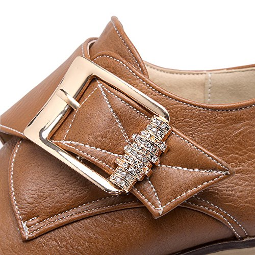 Solid high Loop Boots Brown Women's Kitten AmoonyFashion And Ankle Hook PU Heels U0aO4qn