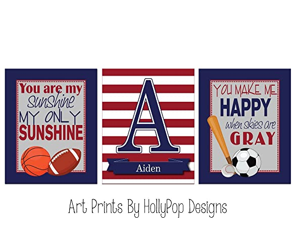Amazon.com: You are my sunshine Boy nursery art Sports nursery decor ...