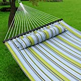 F2C 450Lbs Fall Camp Deluxe Double 2 Person Free Standing Fabric Portable Stripe Quilted Double Cotton Hammock Patio Sleeping Bed W/Pillow Spreader Bars Swing Outdoor