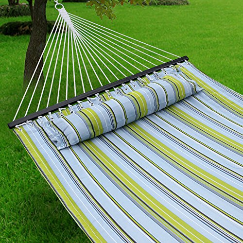 F2C 450Lbs Fall Camp Deluxe Double 2 Person Free Standing Fabric Portable Stripe Quilted Double Cotton Hammock Patio Sleeping Bed W/Pillow Spreader Bars Swing Outdoor - Deluxe Hammock Pillow