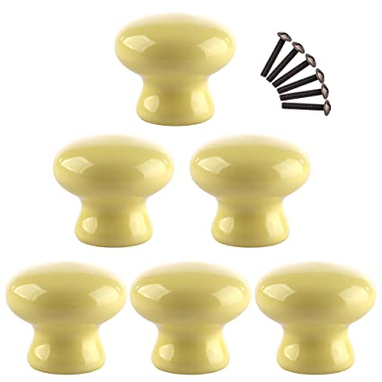 XSHION Cabinet Knobs6 Pack Ceramics Door Knob Furniture Handle Drawer Cupboard Kitchen Pulls
