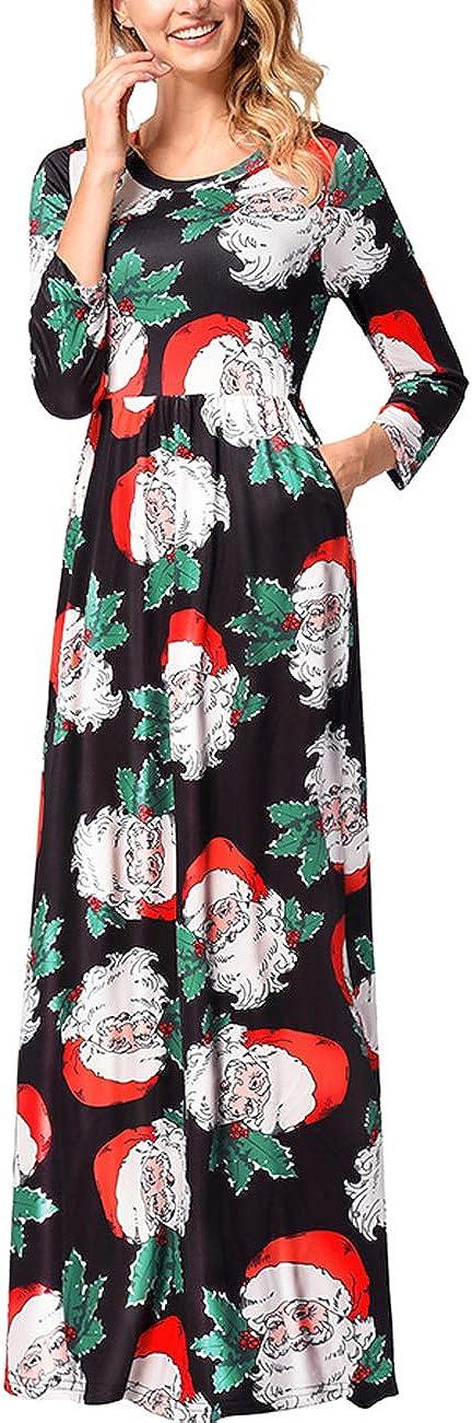 TALLA M=ES 40-42. FeelinGirl Mujeres Vestido Largo Estampado Floral de Fiesta Navidad Falda Maxi de Manga Larga Nochebuena Multicolor-02 M=ES 40-42