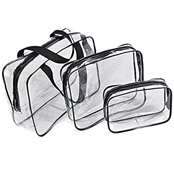 4b40f7f257b3 Amazon.com   3Pcs Clear PVC Cosmetic Bag Organizer Toiletry Makeup Wash Bags  Holiday Travel Pouch Set Doubtless Bay   Beauty