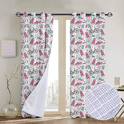- NUOMANAN Bedroom Curtains 2 Panel Sets Bicycle,Teenager Girls Hipster Pink Casual Shoes Bicycle Birds Headphones Glasses Camera, Multicolor,Complete Darkness, Noise Reducing Curtain 100