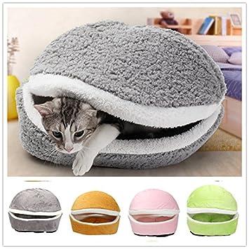 Amazon.com : Winter Warm Pet Puppy Cat Bed House Cushion Half Covered Bed Sleeping Bag Detachable Cute Hamburger Shape Bed : Pet Supplies