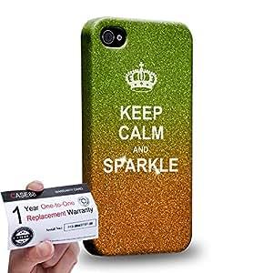 Case88 [Apple iPhone 4 / 4s] 3D impresa Carcasa/Funda dura para & Tarjeta de garantía - Art Fashion Keep Calm And Sparkle orange Humor Inspiration