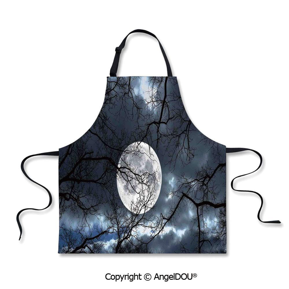 SCOXIXI Waterproof Kitchen Aprons Woman Adult Full Moon at Night in The Forest Winter Time Mystical Dramatic Days Luna Photo for Grill BBQ Cooking Cosplay Party. by SCOXIXI