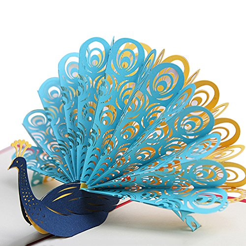 tbpersicwT Greeting Card Creative Peacock 3D Pop Up Paper Greeting Card Festival Birthday Blue