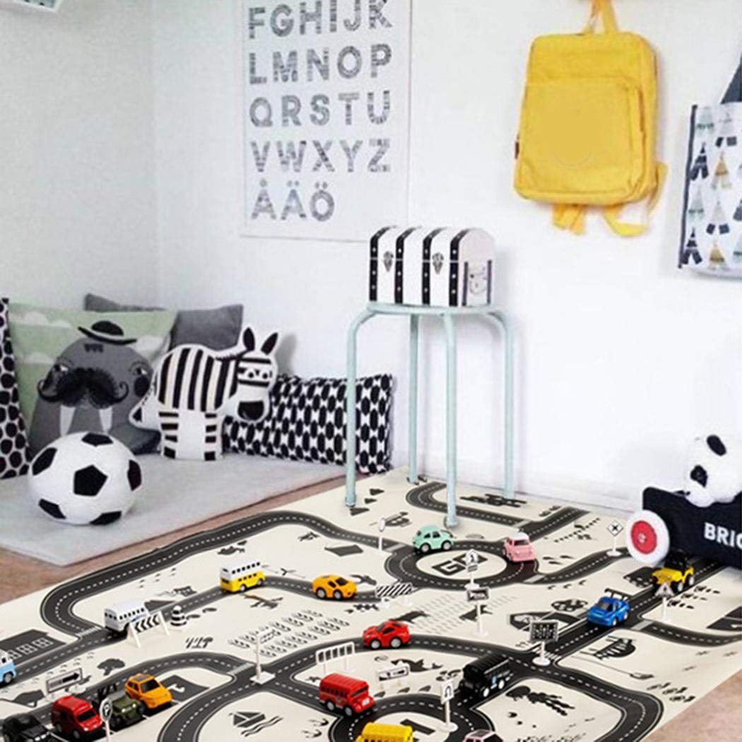 MUDEREK Kids Play Mat City Road Buildings Parking Map Game Educational Toys Baby Gyms /& Playmats-No Include Road Sign and Cars