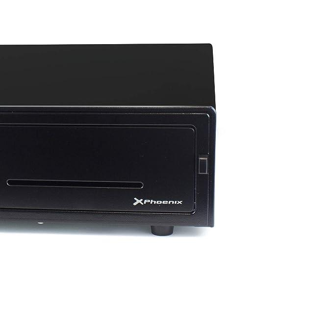 Phoenix Technologies - Cajón portamonedas manual para dinero en efectivo con cerradura y botón de apertura 4 compartimentos de billetes y 8 de monedas ...