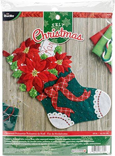 Bucilla Felt Applique Stocking Kit (18-Inch), 86705 Christmas Poinsettia (Felt Poinsettia)