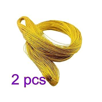 9c31db8ddd0d STOBOK 2 Rollos Cuerda metálica Cuerda de la joyería Etiqueta de la Cuerda  Cuerda de Regalo de Nylon Cuerda 1 mm 100 Yarda Rollo (Oro)  Amazon.es   Hogar