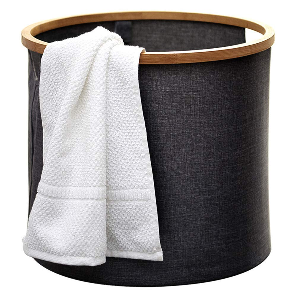 Kinue Home DecorAddition Diaper Toy Hamper Round Storage Basket Hamper Wood Waterproof Laundry Basket Bathroom Dirty Clothes Toy Storage Basket