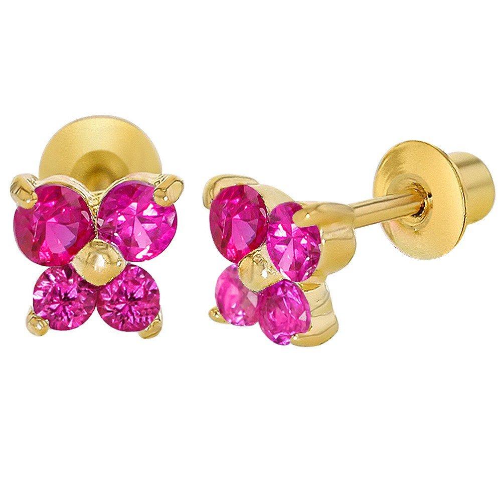 In Season Jewelry - Filles Enfants - Papillon Boucles d\'oreilles - Plaqué or 18k - Rose Fuschia - Tiges poussettes sécurité à vis