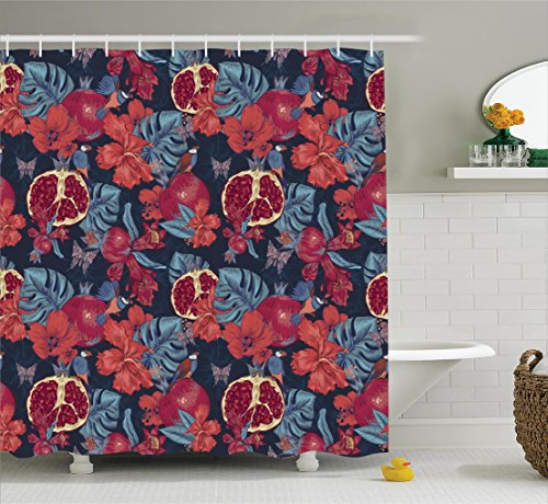 - Ambesonne Hawaiian Decorations Collection, Fruit Flowers Butterfly and Birds Pomegranate Vintage Background Organic Jungle, Polyester Fabric Bathroom Shower Curtain, 84 Inches Extra Long, Burgundy