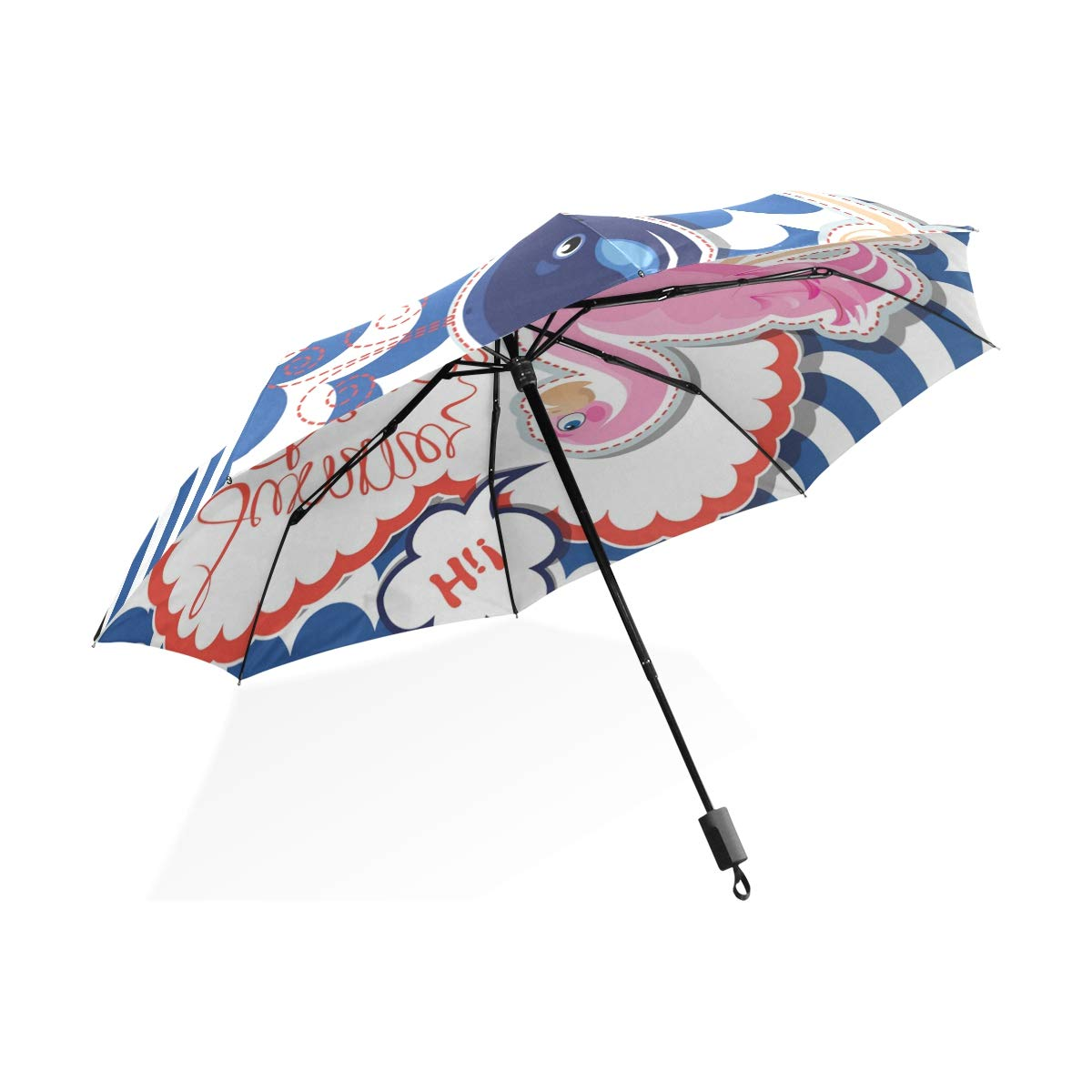 Isaoa Automatique Voyage Parapluie Pliable Compact Parapluie Flamingo et Baleine Bleue Coupe-Vent Ultra léger Protection UV Parapluie pour Homme ou Femme