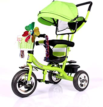 HJFGIRL Triciclos Bebes 1 Año Evolutivo, Juguetes Bebe 3 Meses Bici Plegable con Rueda de Espuma EVA Carga 80kg Adecuado para Parques, Caminos de Grava, Viajes, 63 * 29 * 40cm,Verde: Amazon.es: