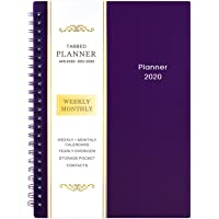 """2020 Planner - Weekly & Monthly Planner, 6.25"""" x 8.3"""", Flexible Cover,12 Monthly Tabs, 21 Notes Pages, Twin-Wire Binding with Two-Sided Inner Pocket"""