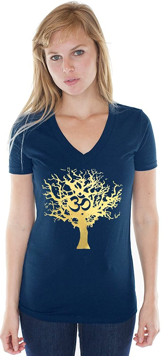 Yoga Clothing For You Ladies Gold Tree Hemp V-neck Tee