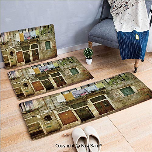 3 Piece Flannel Bath Carpet Non Slip Old Weathered Building Facade with Hanged Clothes Murano Island Grunge Architecture Front Door Mats Rugs for Home(W15.7xL23.6 by W19.6xL31.5 by W35.4xL62.9)