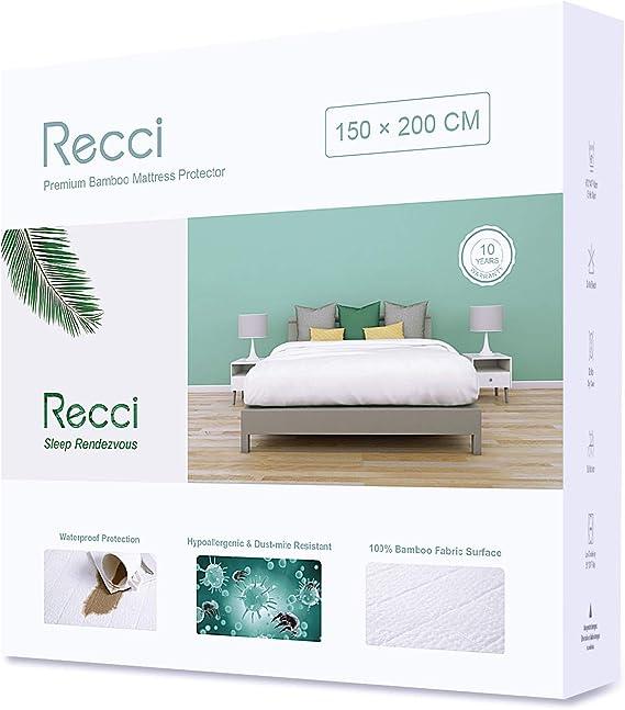 RECCI Cubre Colchón - Cubrecolchón Impermeable, 100% Bambú Fundas de Colchón, Protector de Colchón, Ultra Suave, Transpirable, Anti-Ácaros, Silencioso ...