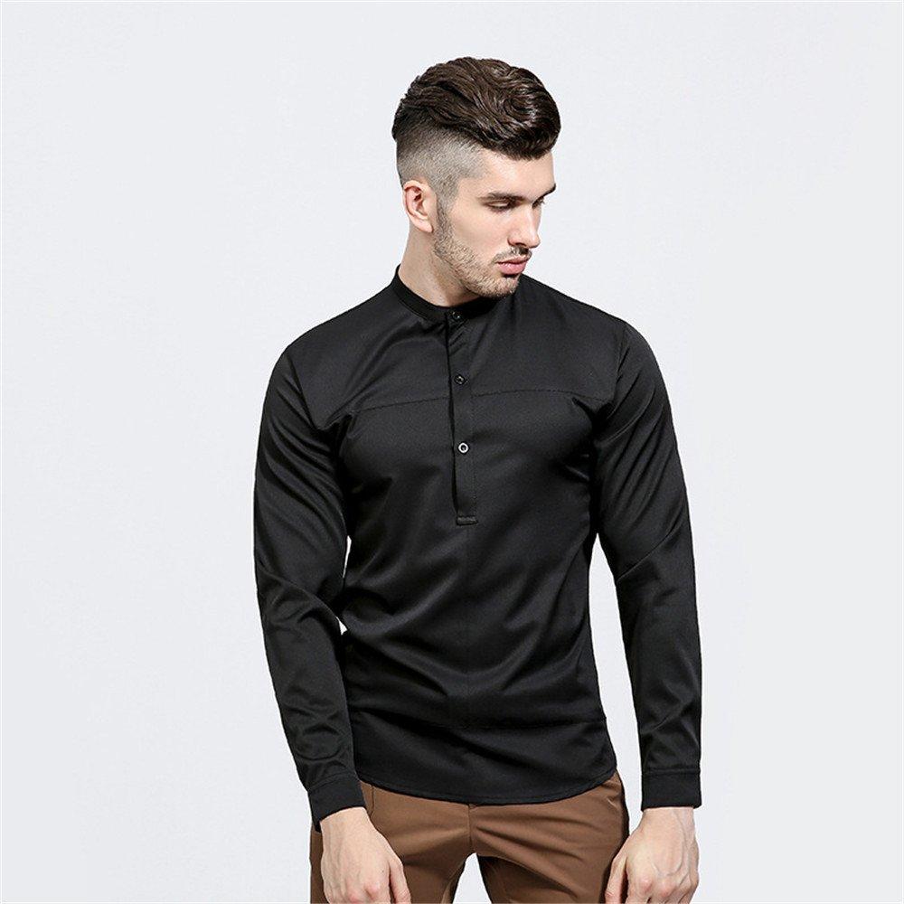 Lixus männer - Mode einfach Kragen Hemd, ärmel Kopf alle Spiel - Kragen - Farbe,schwarz,XXL
