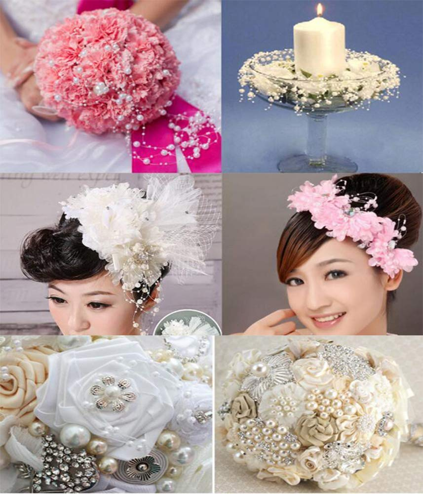 BIT.FLY 6M Pearl Garland Roll Beaded Chain Acrylic Crystal Beads String Trim for Wedding Party Decoration Flower DIY Crafts Light Pink 16 Feet