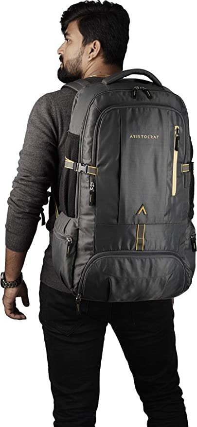 Aristocrat Hike Polyester 45L Hiking Rucksack Backpack | Travel Bags (Grey)