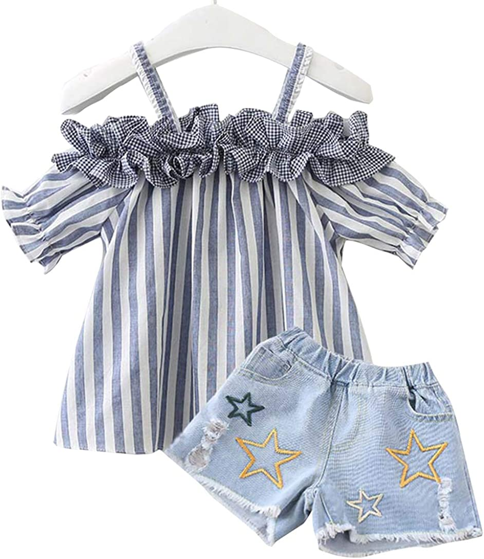 Toddler Little Girls Summer Outfits Striped Off Shoulder Ruffle Blouse Top+Ripped Stars Print Shorts Jeans Clothes Set