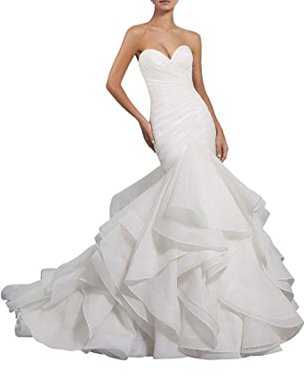 fcf8d4d3159 Women s Sweetheart Ruched Organza Bridal Gown Strapless Multi Layer Mermaid  Wedding Dress for Bride Ivory