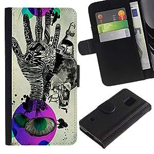 A-type (Pop Arte Abstracto Handprint) Colorida Impresión Funda Cuero Monedero Caja Bolsa Cubierta Caja Piel Card Slots Para Samsung Galaxy S5 V SM-G900