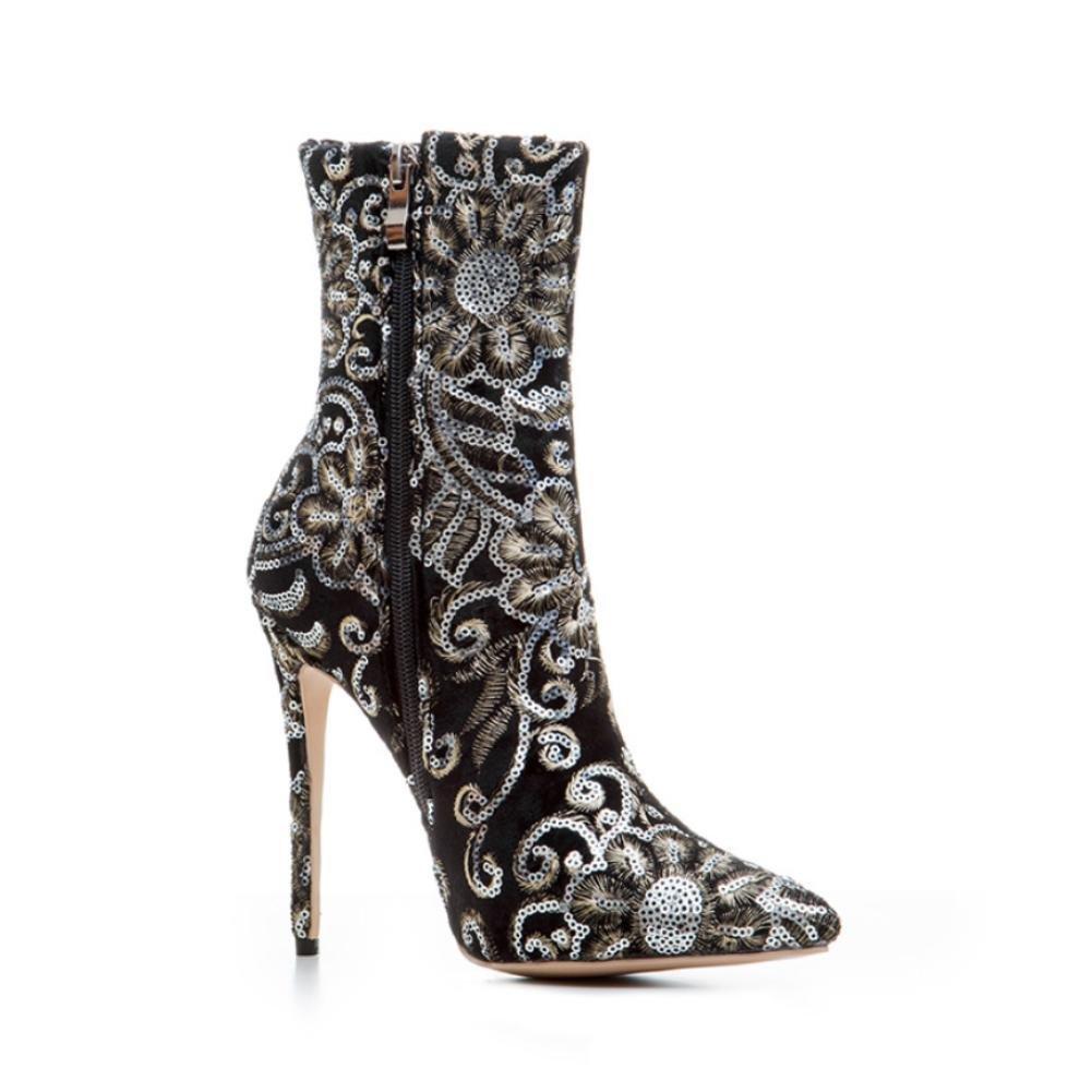 NVXUEZIX Frauen Winter Warme Schuhe Wildleder Druckmuster Druckmuster Druckmuster Stickerei High Heels Slouch Stiefel Spitz-lässig Stil Schwarz c28624