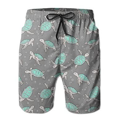 9b126beec5 Men's Swim Trunks Sea Turtles Mint Green Quick Dry Beach Board Shorts with  Mesh Lining | Amazon.com
