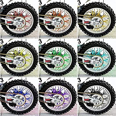 36 pcs Wheel Rim Spoke Skins Covers, Keenso Motocross Rims Skins Off Road Guard Wraps Kit Motorcycle Covers Wrap Decor Protector For Universal Motocross Dirt Bike(Bright Yellow): Automotive